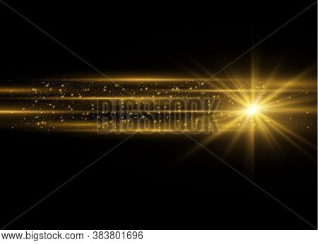 Yellow Horizontal Lens Flares Pack. Laser Beams, Horizontal Light Rays.beautiful Light Flares. Glowi
