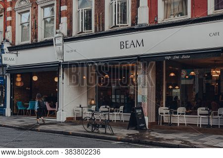 London, Uk - August 20, 2020: Facade Of The Beam Cafe In Crouch End, An Area In North London Traditi