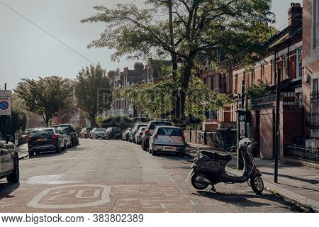London, Uk - August 20, 2020: Bike And Cars Parked On A Street In Crouch End, An Area In North Londo