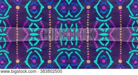 Modern Ikat. Rainbow Ethnic Seamless Pattern. Multicolor Ethnic Boho Rug Ikat. Ethnic Handcraft. Psy