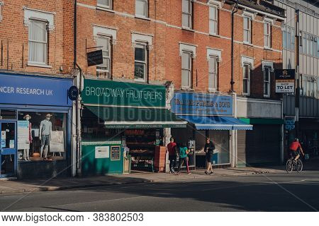 London, Uk - August 20, 2020: Row Of Shops On Broadway In Crouch End, An Area In North London Tradit