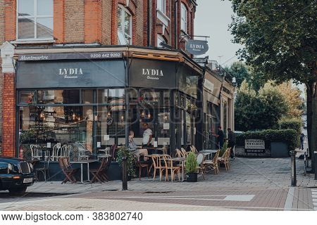 London, Uk - August 20, 2020: Exterior Of Lydia Brasserie In Crouch End, An Area In North London Tra