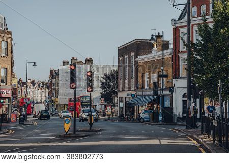 London, Uk - August 20, 2020: View Of People And Cars On The Broadway Street In Crouch End, An Area