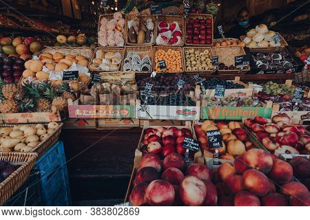 London, Uk - August 20, 2020: Variety Of Fruits And Vegetables On Sale Outside All Greens Store In C