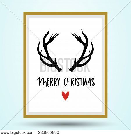 Merry Christmas - Calligraphy Phrase For Xmas With Raindeer Antlers And Red Nose. Lettering For Xmas