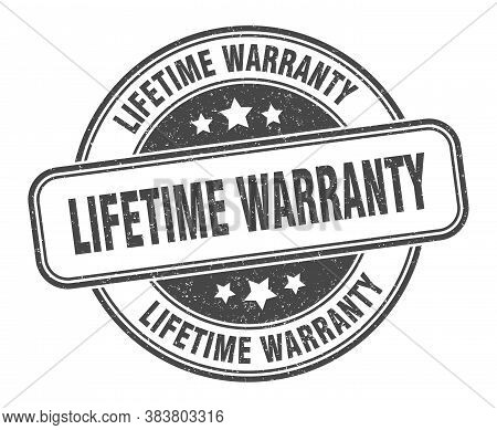 Lifetime Warranty Stamp. Lifetime Warranty Round Grunge Sign. Label