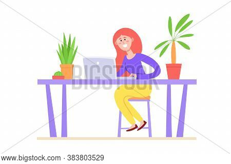 Vector Illustration Of Concept Online Education With Woman And Laptop