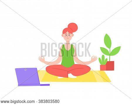 Yoga Online With Girl In Meditation Poses Doing Physical Exercises