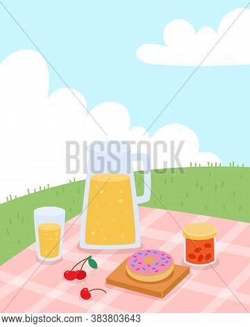 Vector Illustration Of Summer Picnic In Parkin Cartoon Flat Style