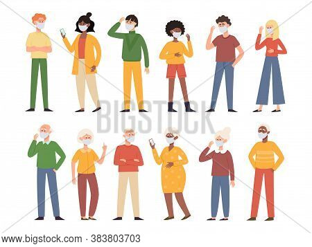 Vector Illustration With Old And Young People In Face Mask