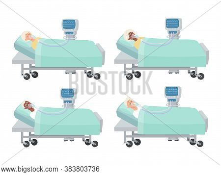 Vector Set Of Old People Lying With Mask And Ventilator