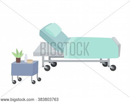Vector Illustration Of Bed-transformer, Table In Hospital Isolated On White.