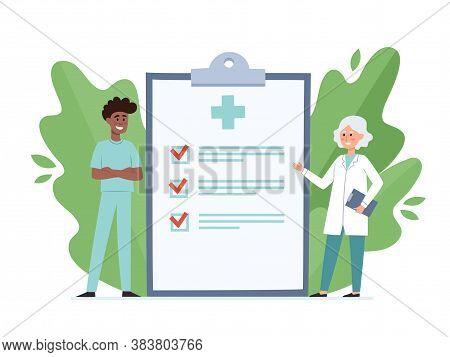 Cartoon Vector Illustration Of Doctor And Nurse Near Big Clipboard