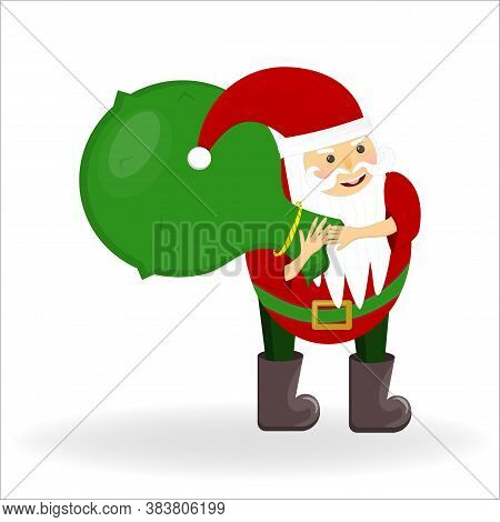 Santa Claus In A Hat With A Belt And Felt Boots With A Bag Of Gifts Is Isolated On A White Backgroun