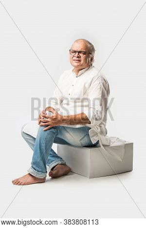 Indian Senior Or Old Man Having Ache Or Body Pain, Sad Expressions