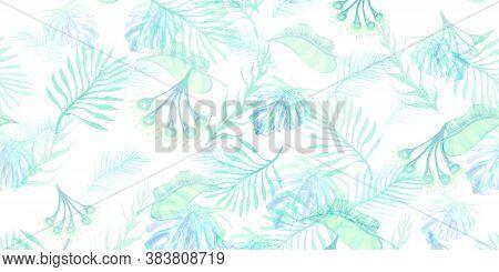 Plant Pattern Wallpaper. Sage Watercolor Painting Pattern. Jade Leave Background. Vintage Hawaii Pat