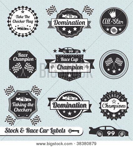 Conjunto de vectores: Carreras coche campeón de etiquetas