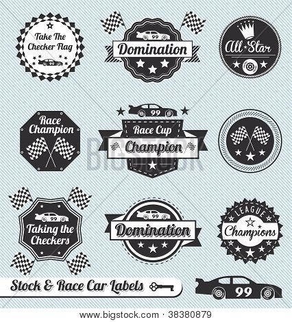 Vector Set: Rennen Auto Champ Etiketten