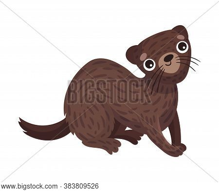 Cute Brown Stoat Or Weasel As Carnivore Forest Animal Vector Illustration
