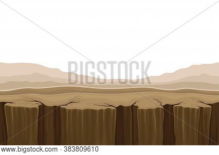 Game Platform With Uneven Terrain And Environment Vector Illustration