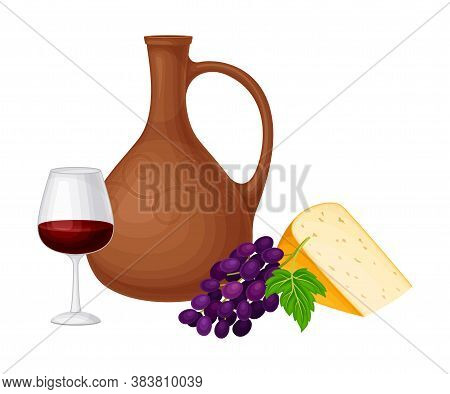 Ceramic Jar With Wine And Cheese Slab As Georgia Country Attribute Vector Illustration