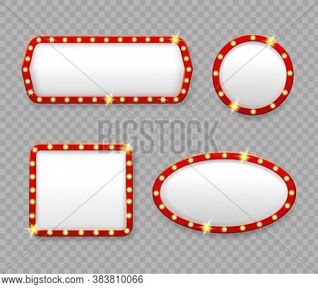 Retro Marquee Frames With Light Bulbs. Vinema And Casino Empty Casino Cinema Banners With Lights. Ro
