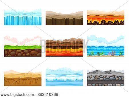 Game Platforms With Uneven Terrain And Environment Vector Set