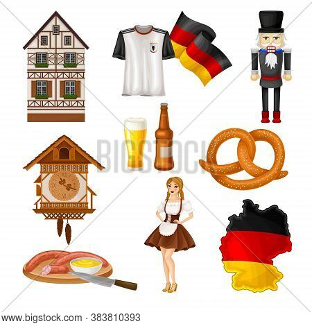 Germany Attributes With Nutcracker And Timbered House Hat Vector Set