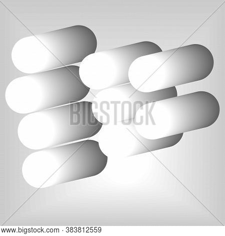 Presentation Slide Template - A Set Of Paper Circle Shapes With Shadows. Vector Illustration Of Whit