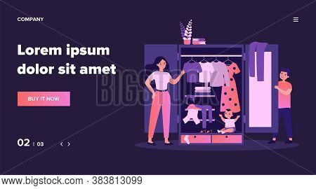 Parents Finding Baby In Wardrobe. Happy Young Family, Clothes Storage Unit, Play Flat Vector Illustr