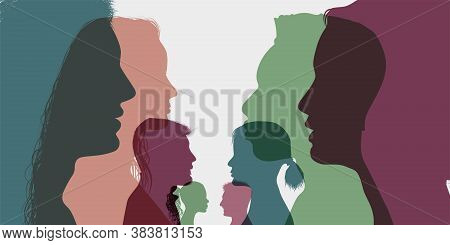 Diversity Multi-ethnic And Multiracial People. Silhouette Profile Group Of Men And Women Of Diverse