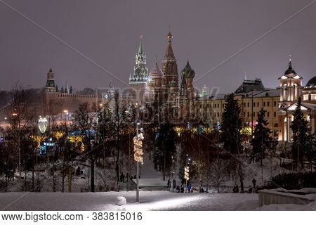 Moscow, Russia - Jan. 2. 2019. Night Cityscape With Overlooking St. Basils Cathedral And The Kremlin