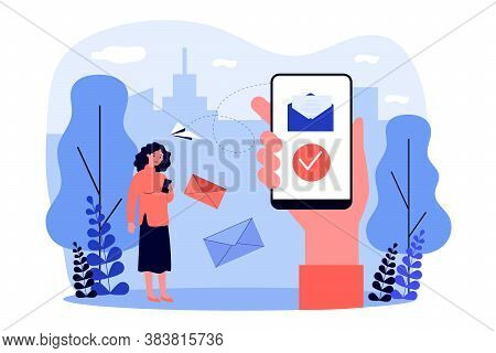 People With Smartphones Sending And Receiving Messages. Email, Messenger, Mobile Phone Flat Vector I