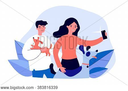 Happy Dog Lovers Taking Selfie. Men And Woman Holding Pets In Arms And Posing For Phone Camera Flat