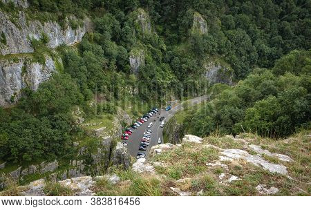 Cliffs Of Cheddar Gorge From High Viewpoint. High Limestone Cliffs In Canyon In Mendip Hills In Some