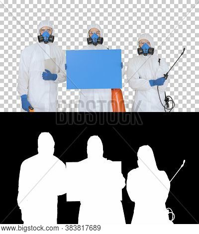 Group Of Epidemiologists In Protective Uniform Holding Blank Pla