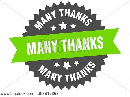 Many Thanks Round Isolated Ribbon Label. Many Thanks Sign