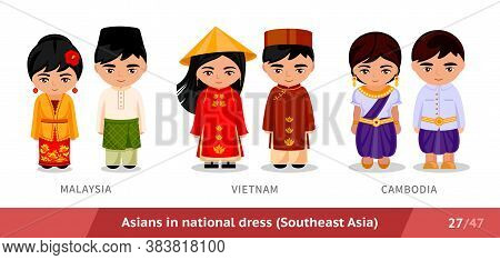 Malaysia, Vietnam, Cambodia. Men And Women In National Dress. Set Of Asian People Wearing Ethnic Tra