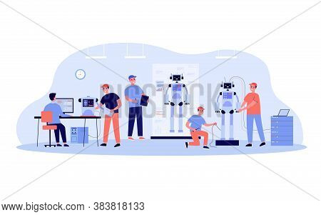 Scientists And Engineers Creating And Constructing Humanoid Robots. People Developing Hardware For H