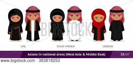 Uae, Saudi Arabia, Jordan. Men And Women In National Dress. Set Of Asian People Wearing Ethnic Tradi