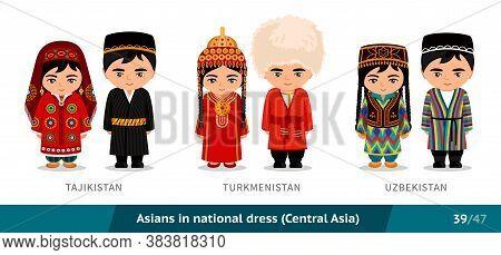 Tajikistan, Turkmenistan, Uzbekistan. Men And Women In National Dress. Set Of Asian People Wearing E