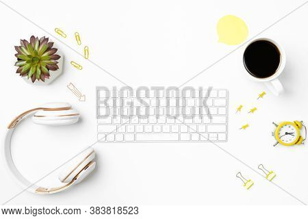 White Abstract Workspace Mockup Background. Computer Keyboard, Wireless Headphones And Office Statio