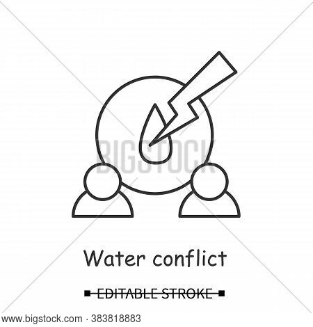 Water Shortage Icon. People With Liquid Drop And Strike Sign Linear Pictogram. Concept Of Resources