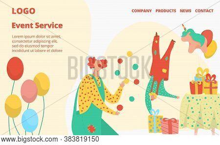 Happy Birthday Vector Illustration. Cartoon Flat Interface Website Design For Event Management Servi