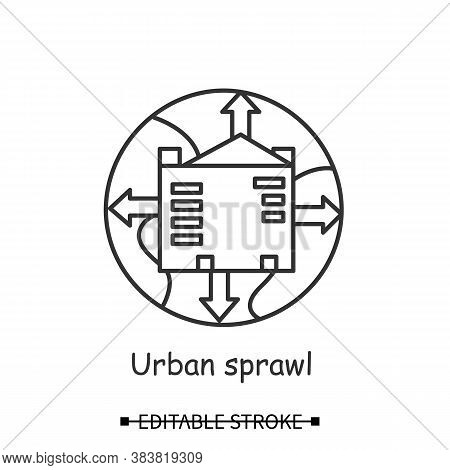 Urbanization Icon. Earth Globe With Growing City Linear Pictogram. Concept Of Urban Sprawl, Globaliz