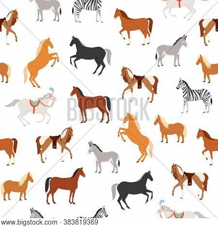 Horses Seamless Pattern Vector Illustration. Cartoon Flat Herbivorous Ungulates Diverse Includes Hor