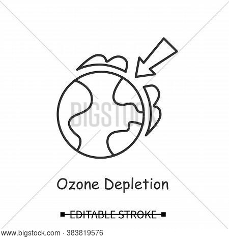 Ozone Layer Icon. Earth Globe With Arrow Linear Pictogram. Concept Of Ozone Screen Depletion, Global