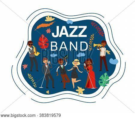 Jazz Band Inscription, Composite On Banner, Saxophone Concert Music, Stage Equipment, Design Cartoon