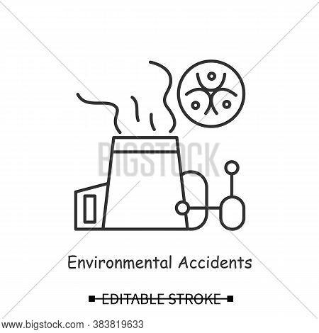 Carbon Emissions Icon. Power Plant Chimney With Bio Hazard Linear Pictogram. Concept Of Hazardous Ac