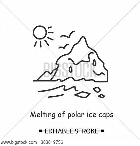 Ice Caps Melting Icon. Polar Iceberg With Sun Linear Pictogram. Concept Of Human Impact On North Pol
